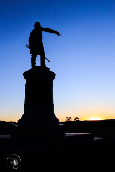GETTYSBURG, PA - Commanding the Union 1st Division of the First Corps during the Battle of Gettysburg in July 1863 was Major General James Wadsworth. This scene was captured on a recent evening at sunset. The monument depicts Wadsworth directing troops in defense of the railroad cut west of town. The General was mortally wounded during the Battle of the Wilderness in May, 1864.