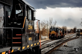 Winchester & Western manifest Train 86 returns to Corning Yard in this photo taken in March 2013. The train has finished its daily run up to Hagerstown and Norfolk Southern's Vardo Yard and back passing rain showers and threatening skies.