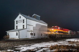"""NOT IN KANSAS ANYMORE: Kansas City, MO that is... Cutting though the light drizzle and thick fog in South Central PA on the Norfolk Southern Lurgan Branch is """"Belle"""" Kansas City Southern 4765 on NS intermodal 204 as it makes it's way to Harrisburg and the Rutherford Terminal. Many thanks to Sean Hoyden for the use of his lighting equipment."""