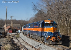 REISTERSTOWN LUMBER: eastbound UBEG rounds the curve at Reisterstown Lumber on its way to Emory Grove. 1/16/14