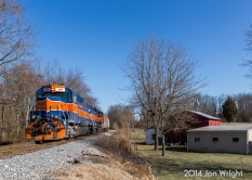 MEDFORD STATION: The UBEG train picks up the cuts of cars out of storage and heads west back to Union Bridge. 1/16/14