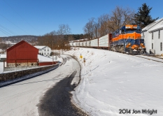LANTZ: Rolling down the mountain after making its drop off and pick up from CSX, MMID's UBHF rolls by the tiny mountain hamlet known as Deerfield Station during the Western Maryland Railway days but today is simply known as Lantz. 1/24/14