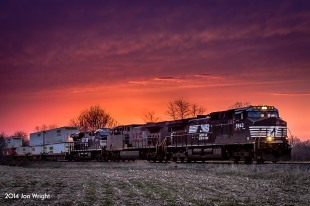GOOD FRIDAY NIGHT LIGHT: Norfolk Southern train 202 races by the village of Brandtsville, Pa on the former Reading Lurgan as it races towards Harrisburg just after sunset on Good Friday 2014.