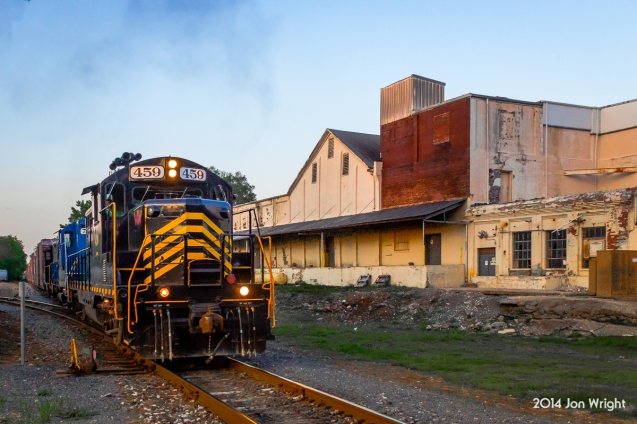 The days WW local has just begun interchanging cars in Martinsburg, WV after a long day on the rails. To the right is the old ice plant. GP9 459 was built by EMD in July of 1955 for the NKP. Nice to see it still retains ithe NKP flavor being in the WW scheme.