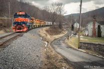 MOUNTAIN RAILROAD: The original logo for the MMID was a diamond with MM interlaced with each other to represent the Mountains and Valleys it traversed. No better example of this is the segment of line from Thurmont to Highfield where the railroad follows Owens Creek to Sabillasville. Here at the small hamlet of Lantz, the rails leave the gorge and begin it's heavy pull to the top.