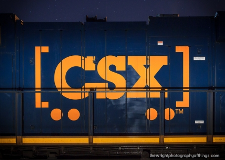 A 3000 series CSX locomotive is parked along a local road in Brunswick, MD which allowed me to painted the Boxcar Logo using a spotlight aimed at the ground to diffuse the light.