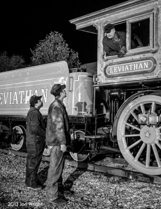 "LEVIATHAN CREW B/W: NEW FREEDOM, PA - The crew of #63 the ""Leviathan"" discusses their switching moves before putting their train together on the Northern Central Railroad. Thanks to Sean Hoyden for the use of his lighting equipment and the crew of the Leviathan. www.leviathan63.com"