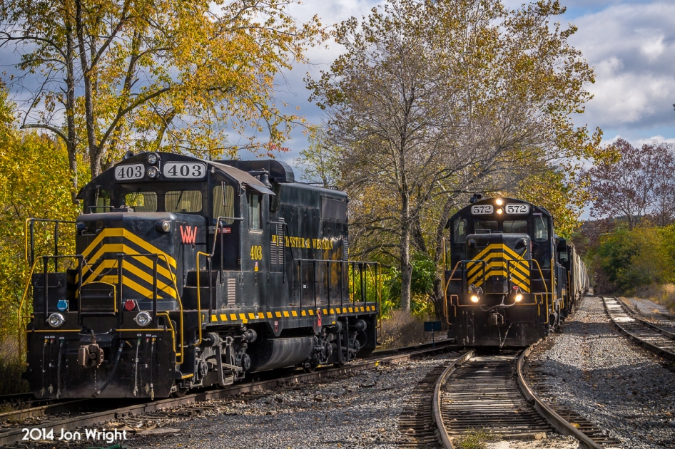 """The Winchester and Western """"Sandman"""" with empty hoppers in tow, returns from it's namesake town back into Gore, a tiny hamlet in northwestern Virginia and since 1944, the western terminus of the railroad that once spanned through the thick forests' to Wardensville, WV."""