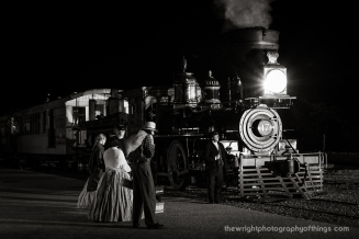 Passengers await to board their train to Baltimore on the Northern Central Railroad at New Freedom, PA but first are detained by a Union soldier while a crew member keeping time looks on. Part of the venture's second annual railfan day was this night charter with lighting provided by Steve Barry.