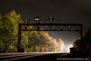 An eastbound manifest turns the corner around the curve on the PRR mainline through Mapleton, PA as it turns out, an empty hopper train enters the westbound block at Jacks and activates the 193W signals.