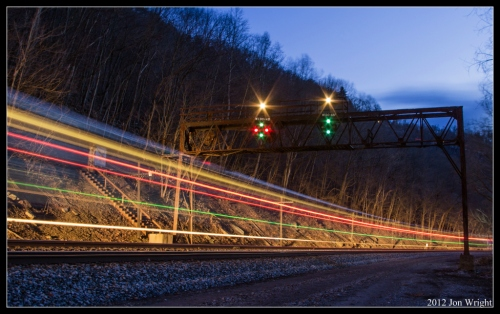 """END OF AN ERA: The Capitol Limited has been a fixture on this line minus 10 years since 1923. Also a fixture on this former Baltimore and Ohio Railroad mainline are it's color position signals. This week marks the end of an era for the Cumberland Sub as these signals come down. These long standing symbols of railroading will no longer carry the call of """"Amtrak 29, west on one (or in this case two), clear Dry Wall."""""""