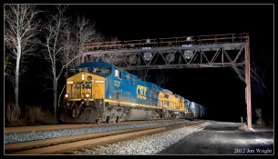 LIT UP LIKE DAYLIGHT: Q370 rolls under the B&O Color Position Light Signal Bridge at Great Cacapon, WV on Friday January 6, 2012. Thanks to Sean Hoyden for letting me have a try at this using his equipment