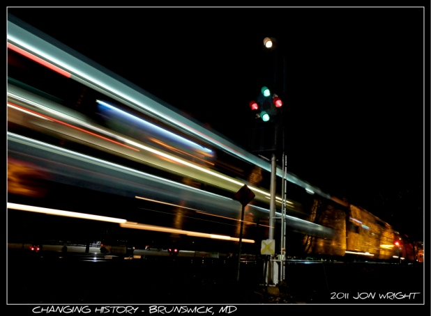"""LAST GREEN OF WB: A """"what if?"""" MARC P883 was due into Brunswick a little bit before 2030 hours on Friday December 9th 2011. CSX had the signal suspension called for 2045 hours. At about 2015 hours the high green appeared on the WB CPL signal by the Tower, giving its last aspect of its life. For whatever reason P883 sat at East Brunswick for about 45 minutes and in doing so ran into the suspension. At about 2110 hours, the aspect changed from green to red as all the switches in the yard were taken off power and into hand throw. History had been changed but P883 had not shown. Finally at about 2125 hours, the train arrives. Using multiple layers This is what should have been as P883 rolled by marking the end of the cpls watch."""