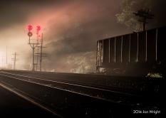 FOGGY VISIONS: The headlights of 213 illuminate the dense fog at Shenandoah Junction, WV