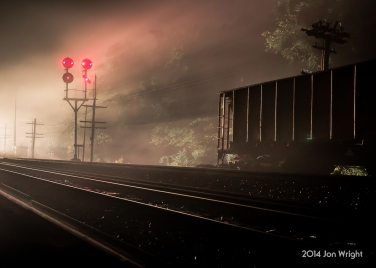 H22.7 FOGGY VISIONS: The headlights of 213 illuminate the dense fog at Shenandoah Junction, WV