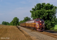 ON THE OLD CVRR: The southern end of the NS Lurgan Branch is actually the old Cumberland Valley Railroad that went from Harrisburg, PA to Winchester, VA. The CVRR was later acquired by the PRR so catching the PRR E8's on home rails was an added bonus here just south of the Mason Dixon Line.