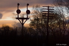 HANSROTE SILHOUETTED: The westward B&O Color Position Light signal stands against the dusk sky in April, 2011. Two months before it's demise.