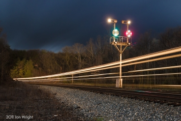 CAROTHERS STREAKING: A westbound lights up B&O in April, 2011