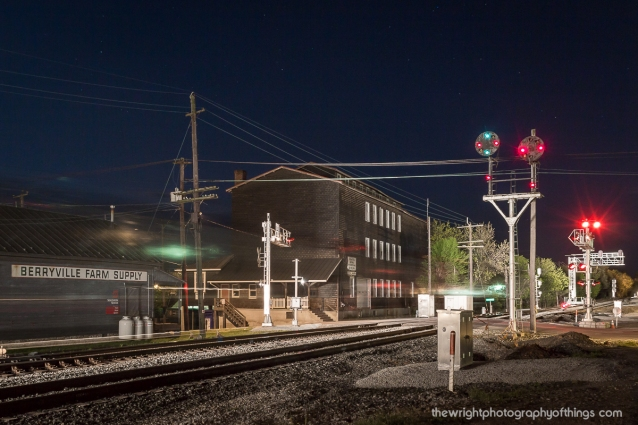 DOWNTOWN BERRYVILLE: A southbound approaches downtown Berryville, VA. The signals were taken down 2 weeks after this photo was taken on Easter evening 2012.
