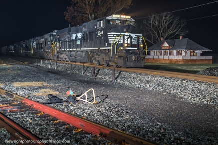 38Q passes by the former N&W station at Charles Town, WV in November 2012.