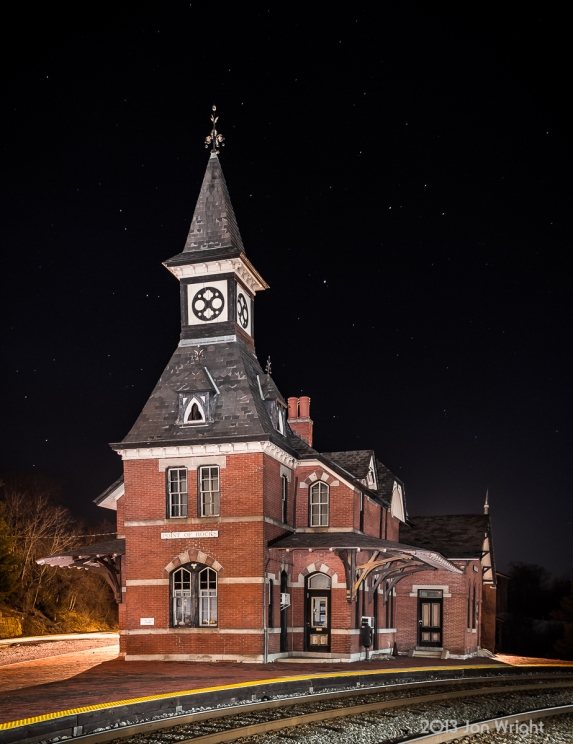 B&O STATION, POINT OF ROCKS: 1873 Baltimore and Ohio Railroad Station, Point of Rocks, MD designed by E Francis Baldwin. The scene was captured in February 2013 and lit by painting the building with a spotlight for 13 seconds at 400 ISO and f5.0