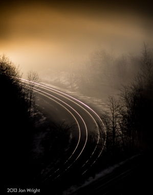 A TRAIN'S A COMIN': Norfolk Southern westbound train is about to come around the curve as it makes the dash for Allegheny Tunnel, Gallitzin, PA and the summit.
