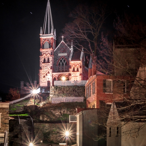 UP ON THE HILL: Harper's Ferry- Saint Peter's Roman Catholic Church stands tall over the Lower Town.