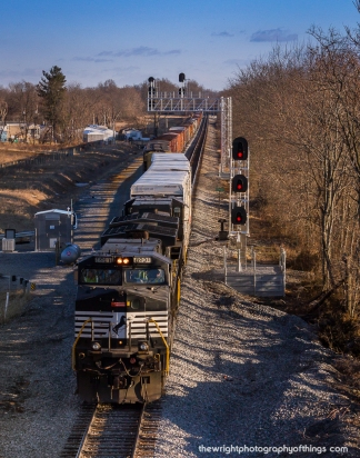 35Q pulls out of the new extending siding as seen from the WV Highway 9 overpass in February 2015