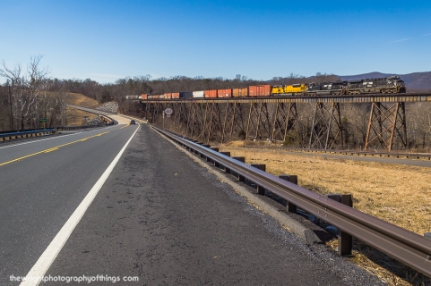 Measuring a length of 1,141 feet and 101 feet at its highest, the bridge is the 2nd longest of the Valley viaducts spanning the floor of the Shenandoah. The current structure #631 replaced its predecessor at the same location in 1918. US Route 340 parallels the structure and in 2012 was realigned closer to the bridge eliminating a very scenic open field location.