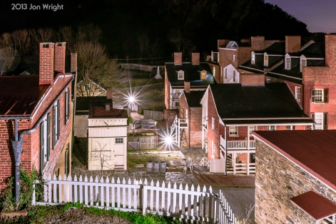 OVERLOOKING HARPER'S FERRY: From the grounds of the Harper House, the buildings nearest are along High Street, to the right, Shenandoah Street. One can make out the oblisk moment where the engine house originally stood on the embankment opposite Potomac Street.