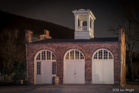 JOHN BROWN'S FORT: Harper's Ferry, WV - The United States armory engine house today sits at the end of Potomac and Shenandoah Streets. Its original location is marked by an monument on the railroad embankment that was built in the 1890's after the B&O purchased the grounds.