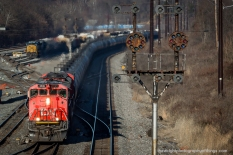 """""""MEXICO FALLING"""" In addition to today's Class ! railroads and Amtrak, the Baltimore and Ohio CPL signals at Mexico at the east end of the Cumberland Terminal have seen a various degree of power pass by throughout the years including Chessie, Western Maryland, C&O, Wheeling and Lake Erie, Family Lines, Conrail, Norfolk and Western... the list can go on. Sadly, the signals end is near as CSX signal crews are actively working to upgrade the old generals here and at West Hump."""