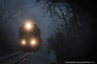 """STEPHENSON"" Returning from Clear Brook, VA to pick up a few flat cars, The Sandman approaches Winchester on the former CVRR/PRR/PC/CONRAIL line."