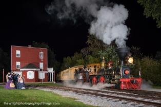 """Part of the 2017 annual """"Railfan Day"""" at Steam Into History. This year I was asked to help provide lighting for the event and had a mission to make it more realistic with active steam. Here York 17 looks as though it is enroute from York to Baltimore at the depot at Hanover Junction as locals look on."""