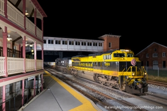 OFF THE BEATEN PATH Norfolk Southern's Virginian unit leads CSX intermodal train Q138 by the former Baltimore and Ohio Railroad's Roundhouse complex and Amtrak station in Martinsburg, WV.