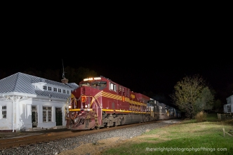 """October 29, 2016 saw another NS heritage unit leading a train through the area. Here is NS 8102 the """"Pennsylvania Railroad"""" leading 36Q by the N&W Depot in Boyce, VA just shortly before 11pm."""