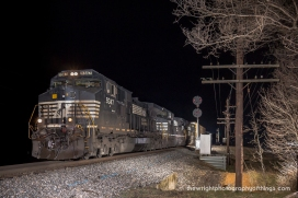 H28.1 Norfolk Southern Allentown, PA to Birmingham, AL manifest train 15T helps create this scene at Charles Town, WV on the former Norfolk and Western Valley Line that will soon be altered. The Color Position Light Signal will soon be replaced and perhaps along with it, the code line you see to the right as NS readies the railroad for PTC implementation and signal upgrades.