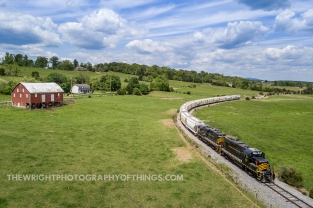 """The Winchester and Western """"Sandman"""" navigates the twists and turns of Gainesboro Hill along Hayfield Road in northwest Frederick County, VA."""