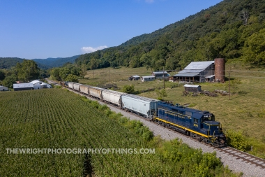 The days train on the South Branch Valley Railroad passes north thru Vanderlip just west of Romney, WV on its way from Moorefield to Green Spring on Wednesday August 21, 2019.