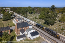 The Winchester and Western strolls through Winchester, VA with empties in tow for the sand mine at Gore on Tuesday September 3, 2019.