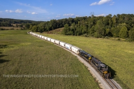 Stretching across Back Creek Valley with 15 empties in tow, the Sandman turns towards US Route 50 and it's western terminus at Gore, VA on Tuesday, September 3rd, 2019.