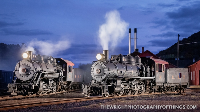 East Broad Top 2-8-2 Mikado steam locomotives 12 and 17 sit out front of the EBT shops in Rockhill Furnace, PA at dusk to let off a little simulated steam on Saturday, October 24, 2020.