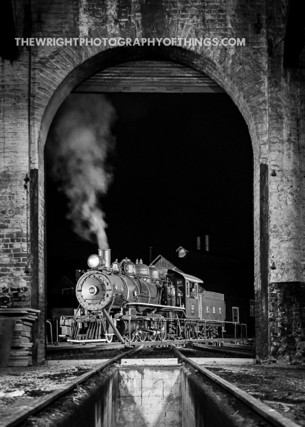 """Many thanks to Lerro Photography for providing the lighting and the East Broad Top Foundation for letting us play with their Mikes! EBT #12 """"Millie"""" sits on the turntable outside the roundhouse in this view from above an empty stall with simulated steam aka smoke bombs for effect."""