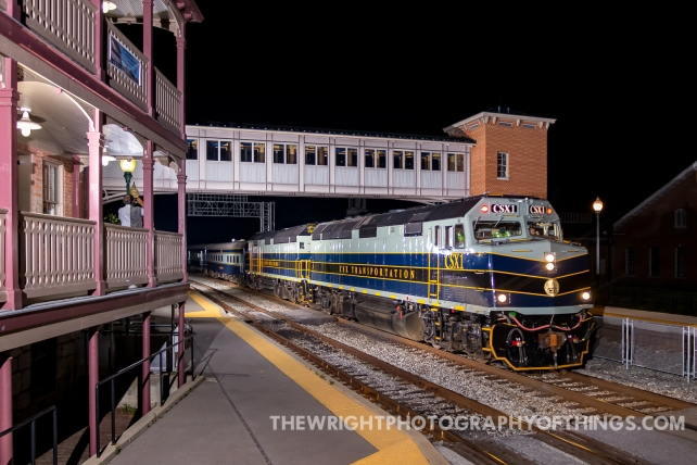 """The CSX OCS symbol P001-25 photographed in Martinsburg, WV as it makes it's journey from Chicago, IL to Waycross, GA with some VIPs on board on the evening of August 26, 2021. CSX painted the entire train (engines and cars) in 1950's Baltimore and Ohio Railroad passenger era colors. You'll even note the brass """"Capitol Dome"""" on the front of CSX 1."""